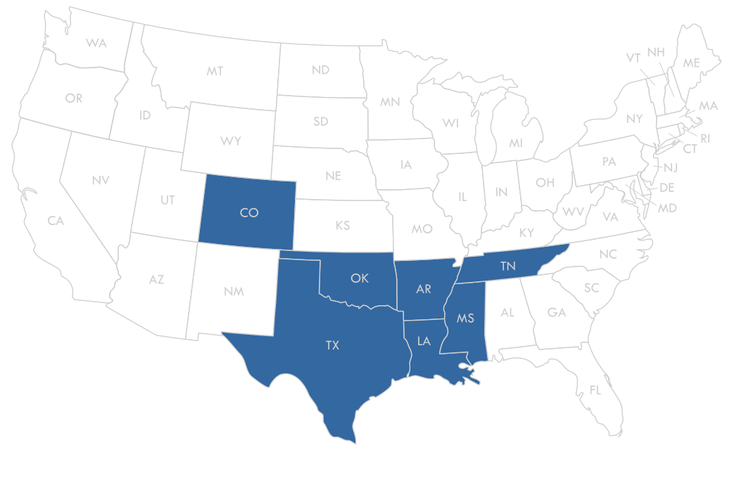 United States Map with the states we service highlighted